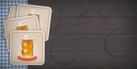 Banner with beer coasters and blue table cloth on the dark wooden background. Eps 10 vector file.