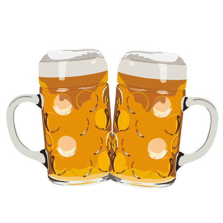 Two beer glasses on the white background. Eps 10 vector file. Stockfoto - 111845271