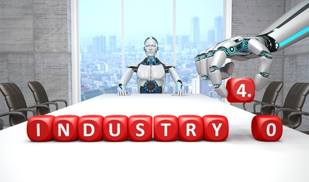 White robot in a conference room with the Industry 4.0 cubes.