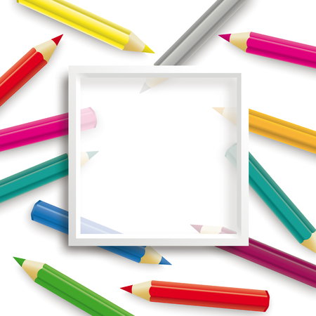 Colored pencils with white frame on the white background. Eps 10 vector file.