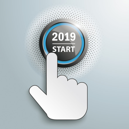 Hand cursor and button with text 2019 Start. Eps 10 vector file.