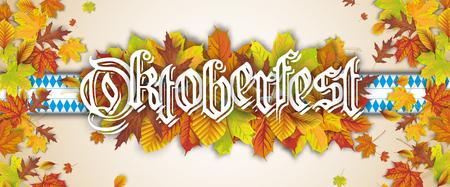 Oktoberfest header with autumn foliage and bavarian ribbon.  Eps 10 vector file.