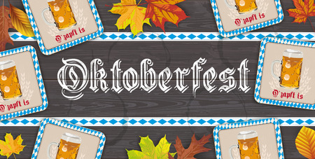 German text O zapft is and Oktoberfest, translate on tap and Oktoberfest. Eps 10 vector file. Stock Illustratie