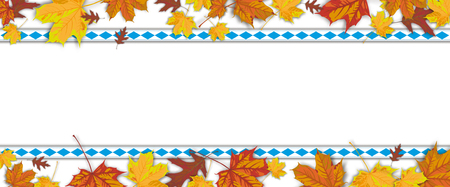 Autumn foliage with bavarian ribbons on the dark wooden background.  Eps 10 vector file.
