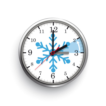 A clock for a time change to a standard time on the white background. Eps 10 vector file.