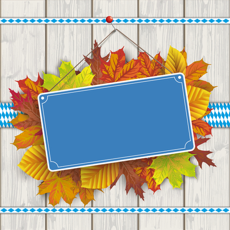 Blue empty sign board with autumn foliage. Eps 10 vector file. Ilustrace
