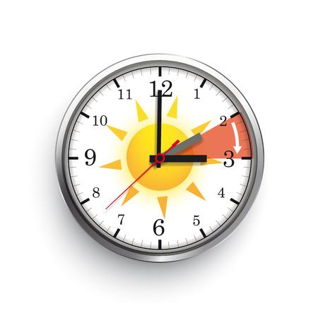 An der Buche hängt eine Uhr zur Zeitumstellung auf eine Normalzeit. EPS-10-Vektordatei. Vektorgrafik