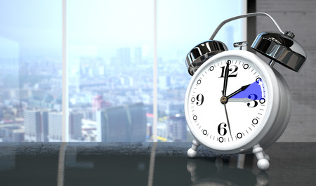 The clock on the table for a time change to standard time. 3d illustration.