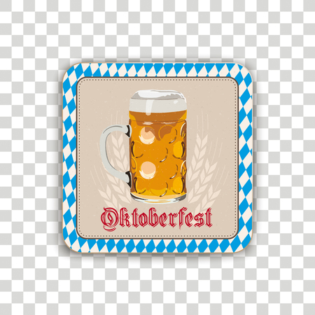Oktoberfest beer coaster on the checked background.  Eps 10 vector file.