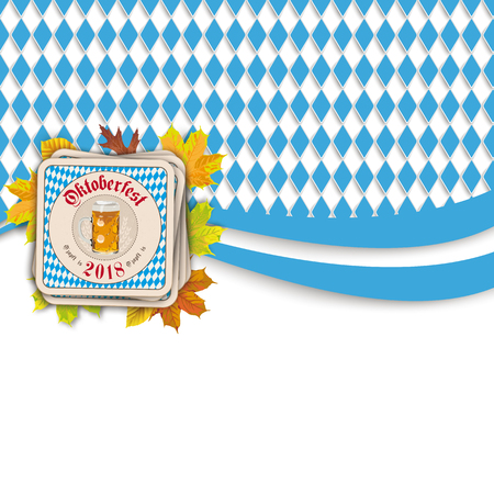Oktoberfest design on the white background. German text O zapft is and Oktoberfest, translate on tap and Oktoberfest. Eps 10 Ilustrace