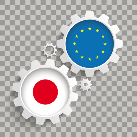 White gears with Japan and EU flags on the checked background. Eps 10 vector file.
