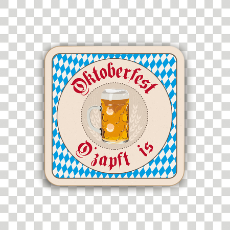 German text O zapft is and Oktoberfest, translate on tap and Oktoberfest. Eps 10 vector file.  イラスト・ベクター素材