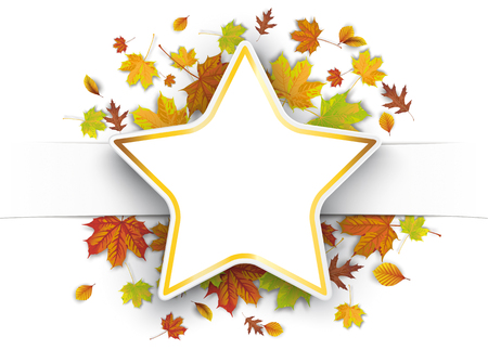 White paper banner, golden star and colorful autumn foliage.  Eps 10 vector file. Illustration