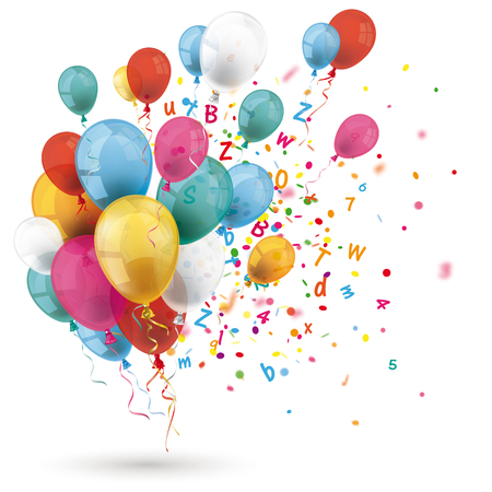 Colored balloons with letters and confetti on the white background. Eps 10 vector file.