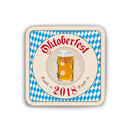 "German text ""O zapft is"" and ""Oktoberfest"", translate ""on tap"" and ""Oktoberfest"". Eps 10 vector file."
