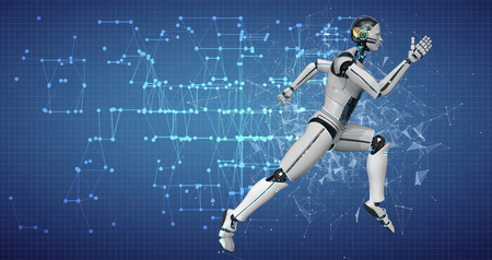 A running white robot on the blue background with a network. 3d illustration.