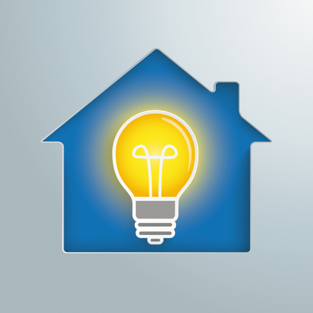 House with a bulb on the blue background. Eps 10 vector file.