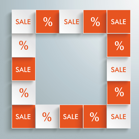 Squares with percents and text Sale on the gray background. Eps 10 vector file.