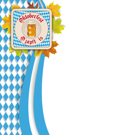 Oktoberfest design on the white background. German text O zapft is and Oktoberfest, translate on tap and Oktoberfest. Eps 10 vector file. Stock Illustratie