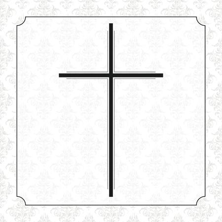Design volantino necrologio con croce nera, cornice e ornamenti. File vettoriale EPS 10.