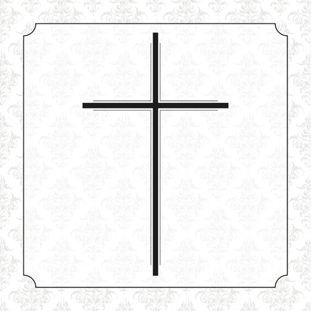 Diseño de volante obituario con cruz negra, marco y adornos. Archivo de vector EPS 10.