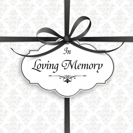 Obituario con el texto In Loving Memory. Archivo vectorial EPS 10.
