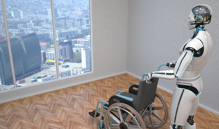 A robot with a wheel chair in the room. 3d illustration. Stock Photo