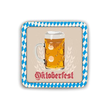 Oktoberfest beer coaster on the white background.  Eps 10 vector file. Stock Illustratie