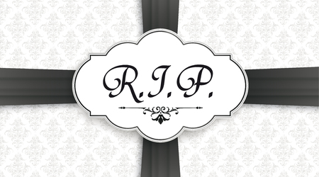 Black cover with classic label and text RIP for the obituary. Eps 10 vector file.