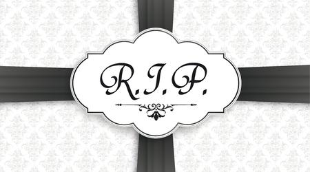 Portada negra con etiqueta clásica y texto RIP para el obituario. Archivo de vector EPS 10.