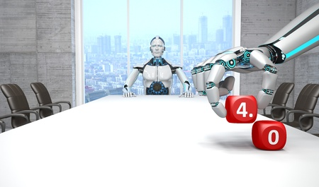White robot in a conference room with the text 4.0 cubes. 3D Illustration. Imagens