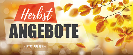German text Herbstangebote, Jetzt Sparen, translate Autumn Offers, Buy Now. Eps 10 vector file.