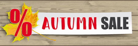 Autumn foliage with paper banner and text Autumn Sale. Eps 10 vector file. Stock Illustratie