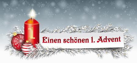 Texto en alemán Einen Schoenen 1 Adviento, traducir feliz primer advenimiento. Archivo de vector EPS 10. Ilustración de vector