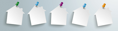 White paper houses on the gray background. Eps 10 vector file.