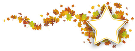 Golden star with autumn foliage on the white background. Eps 10 vector file. Vettoriali