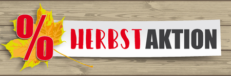 German text Herbstaktion, translate Autumn Sale. Eps 10 vector file.