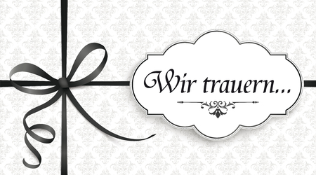 German text Wir trauern, translate We grieve. Eps 10 vector file.