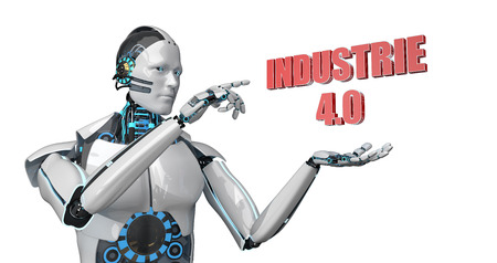 German text Industrie 4.0, translate Industry 4.0. 3d Illustration.