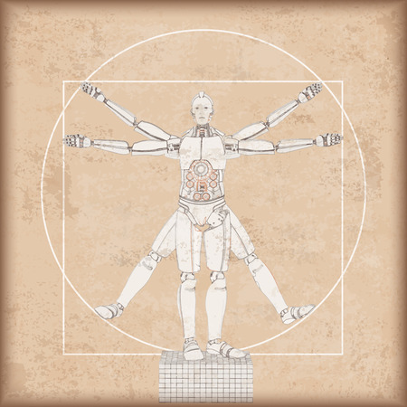 Vintage background with the vitruvian robot. Eps 10 vector file.