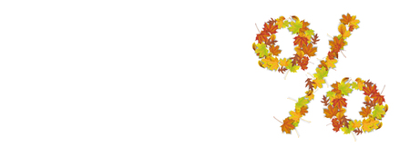 Autumn foliage with the percent on the white background. Eps 10 vector file.