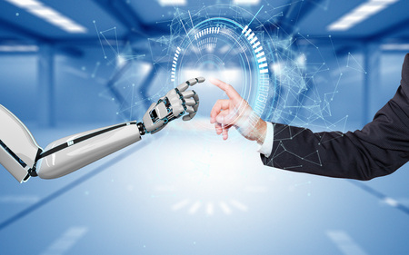 A robot hand and a human hand touch each other via the HUD display. 3d illustration. Stock fotó