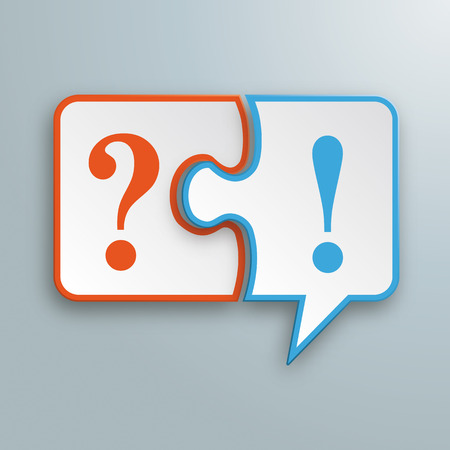 White paper speech bubble puzzle with question and exclamation mark on the gray background. Eps 10 vector file.