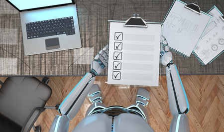 A white robot with a clipboard and checklist in the hand. 3d illustration.