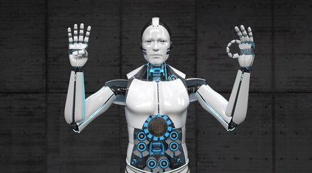 A white robot shows the numbers 4 and 0 with his fingers.3d illustration.