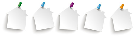 White paper houses on the white background. Eps 10 vector file.