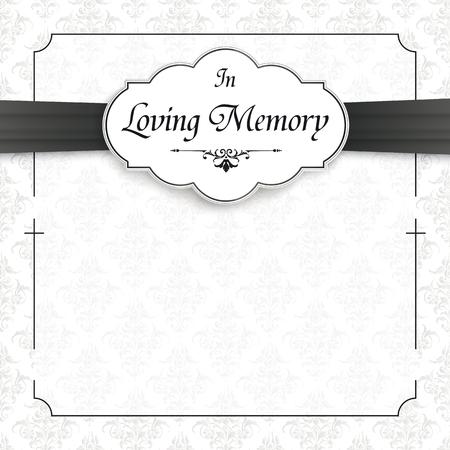 Nachruf mit dem Text In Loving Memory. Eps 10 Vektordatei.