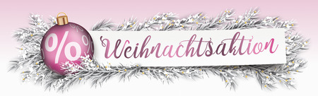 German text Weihnachtsaktion, translate christmas sale. Eps 10 vector file. Stock Illustratie