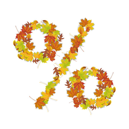 Autumn foliage in the shape of percent on the white background. Eps 10 vector file. Stock Illustratie