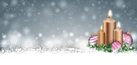 Father christmas banner with with the snow, baubles and candles. Eps 10 vector file.